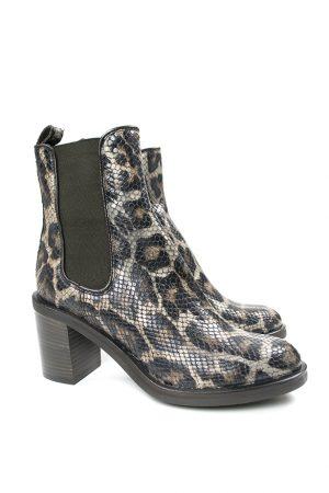 Svart/brun boots med leomönster - AGL