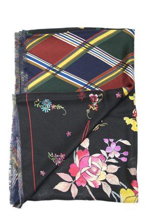 Sidensjal twill svart med blommönster - PIERRE-LOUIS MASCIA