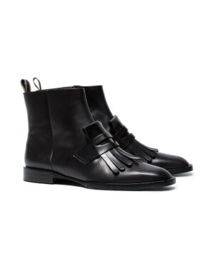 Black leather boots Yousc with fringes  - ROBERT CLERGERIE