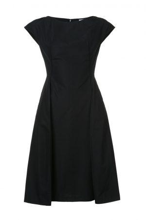 Klänning poplin kort ärm svart - ASPESI
