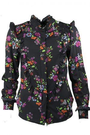 Sidenskjorta Monto blommig svart - JULIE FAGERHOLT HEARTMADE