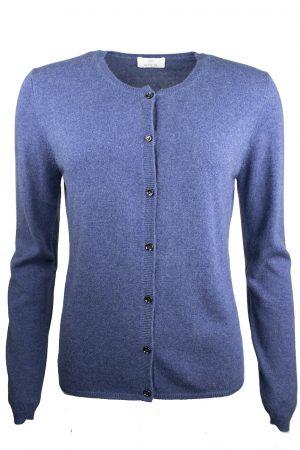 Cashmere cardigan blå melerad - ALLUDE
