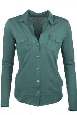 Shirt  Clara bomull/cashmere winter green - MAJESTIC