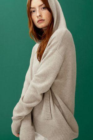 Cashmere hoodie COLUMBINE sand - LISA YANG