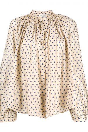 Skjorta bomull-siden med prickar cream - FORTE_FORTE