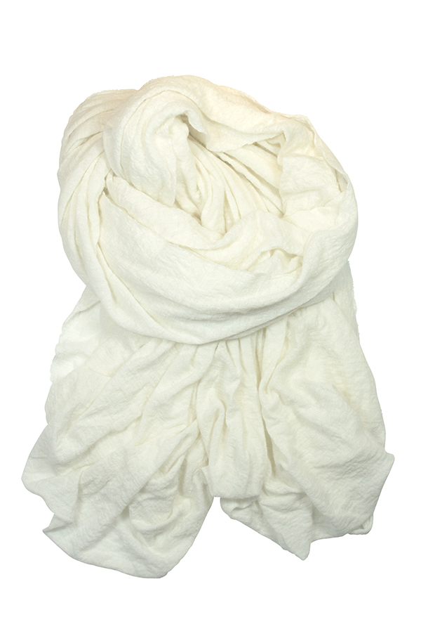 Tessy - offwhite knitted cashmere shawl - FALIERO SARTI