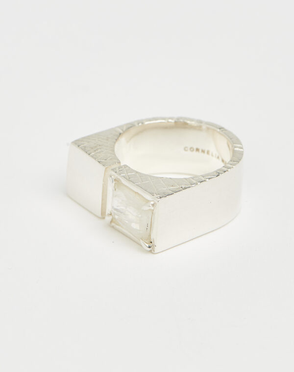 Slized square ring silver - Cornelia Webb