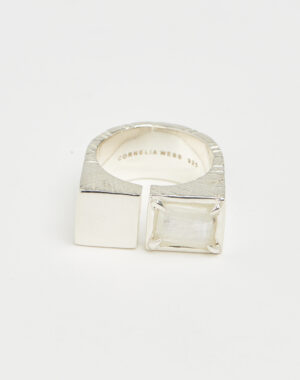 Slized square ring silver - Cornelia Webb