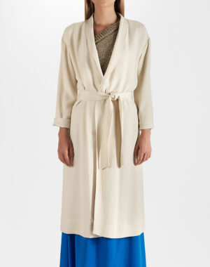 Coat with tie-belt natural - FORTE_FORTE